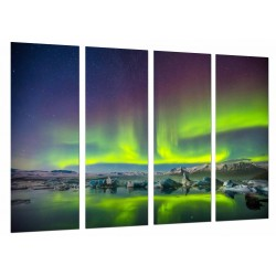 MULTI Wood Printings, Picture Wall Hanging, Northern Lights, Sky Green, Lake Norway