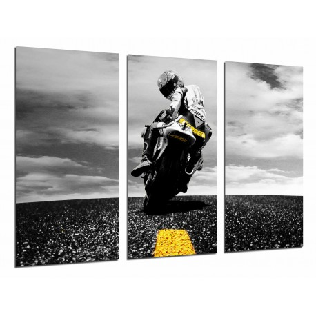MULTI Wood Printings, Picture Wall Hanging, Motobike of Road, Biker , Yellow