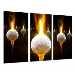 MULTI Wood Printings, Picture Wall Hanging, Golf, Ball With Fire, Sport