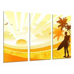 MULTI Wood Printings, Picture Wall Hanging, Man Surf, Palms Sun and Playa