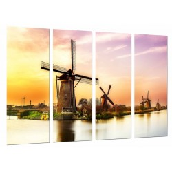 MULTI Wood Printings, Picture Wall Hanging, Mills Vintage in Holland, Lago