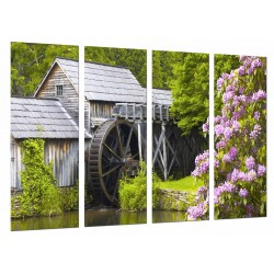 MULTI Wood Printings, Picture Wall Hanging, Landscape of Mill, Nature With Flowers