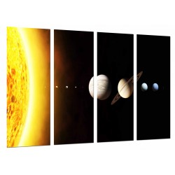 MULTI Wood Printings, Picture Wall Hanging, System Lunar, Planets in the Espacio