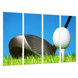 MULTI Wood Printings, Picture Wall Hanging, Stick of Golf and Ball, Sport