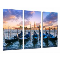 MULTI Wood Printings, Picture Wall Hanging, Landscape Sunset  Gonads, Ships Venice