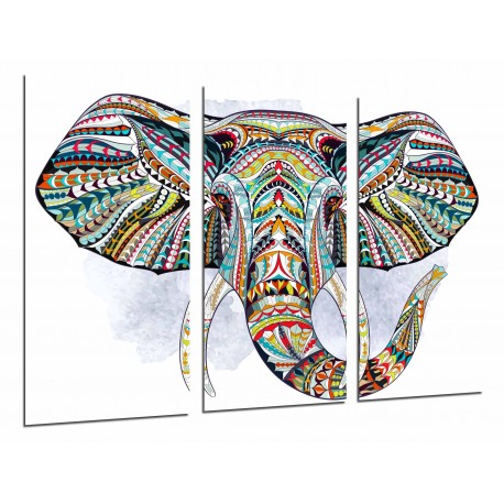 MULTI Wood Printings, Picture Wall Hanging, Decoration Mandala Animal Elefante, Background Blanco