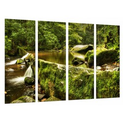 MULTI Wood Printings, Picture Wall Hanging, Landscape Nature River and Forest Green
