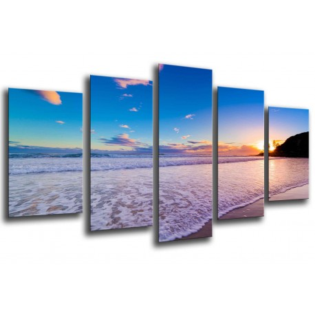 MULTI Wood Printings, Picture Wall Hanging, Sunset in the Beach, in the mar