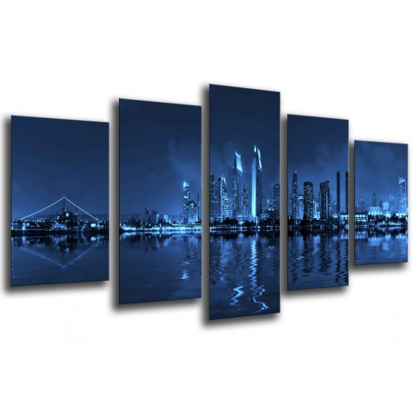 MULTI Wood Printings, Picture Wall Hanging, City of San Diego, Skyline of noche