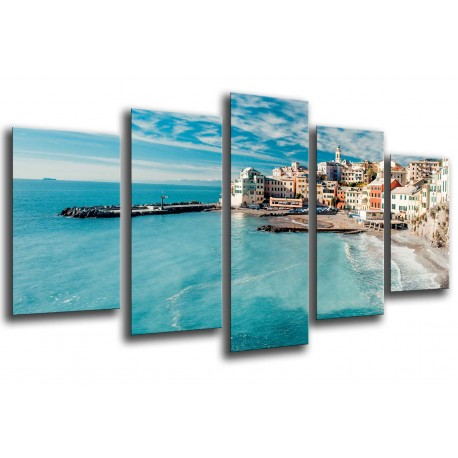 MULTI Wood Printings, Picture Wall Hanging, Landscape village coastal, Beach and mar