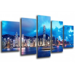 MULTI Wood Printings, Picture Wall Hanging, City of Hong Kong, Atardecer