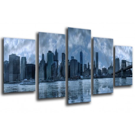 MULTI Wood Printings, Picture Wall Hanging, City of New York, New York, Manhattan, atardecer