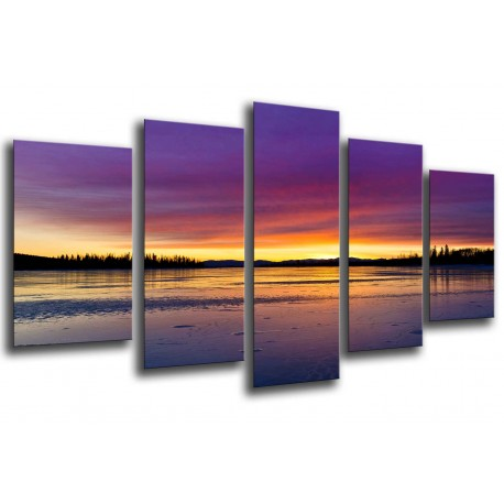 MULTI Wood Printings, Picture Wall Hanging, Landscape Lake Sunset, puesta of Sun