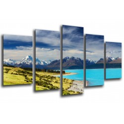 MULTI Wood Printings, Picture Wall Hanging, Landscape Lake New Zeland, Forest and montes