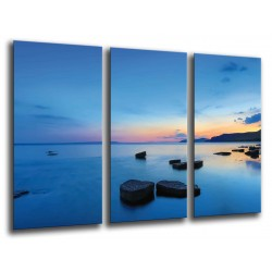 MULTI Wood Printings, Picture Wall Hanging, Landscape Lake Sunset, Stones in the Lago