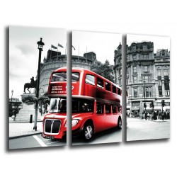 MULTI Wood Printings, Picture Wall Hanging, City London, London, Bus Rojo