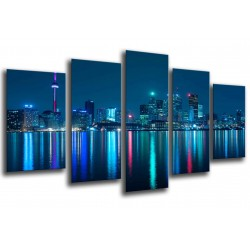 MULTI Wood Printings, Picture Wall Hanging, City Toronto of Night, Rascacielos