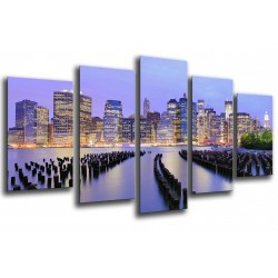 MULTI Wood Printings, Picture Wall Hanging, City New York, New York, Atardecer