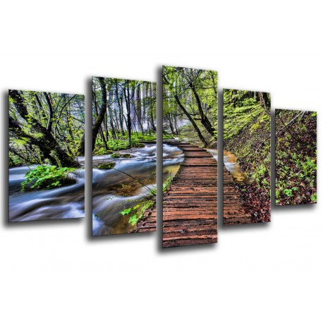 MULTI Wood Printings, Picture Wall Hanging, Landscape Forest, Park National of Croacia