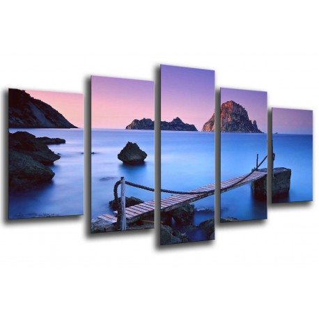 MULTI Wood Printings, Picture Wall Hanging, Landscape Lake Round of Mountains, Atardecer