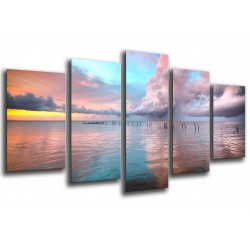 MULTI Wood Printings, Picture Wall Hanging, Sky Blue and Pink on the Mar