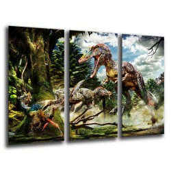 MULTI Wood Printings, Picture Wall Hanging, Dinosaurs, Velociraptor