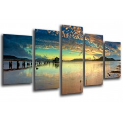 MULTI Wood Printings, Picture Wall Hanging, Landscape Lake Australia, Sunset, Puesta of Sun