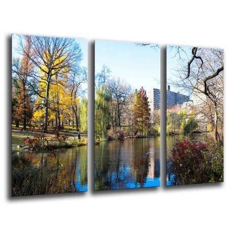 MULTI Wood Printings, Picture Wall Hanging, Landscape lake in Centre City Nueva York