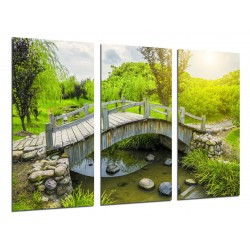 MULTI Wood Printings, Picture Wall Hanging, Landscape Bridge On River in the Bosque