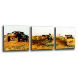 MULTI Wood Printings, Picture Wall Hanging, Paris Dakar, Race Cars in the Desierto