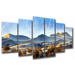 MULTI Wood Printings, Picture Wall Hanging, Landscape Desert Dunes Pano