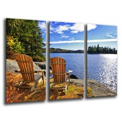 MULTI Wood Printings, Picture Wall Hanging, Landscape Lake Ontario, Canada