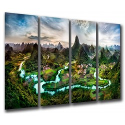 MULTI Wood Printings, Picture Wall Hanging, Mountains of Guilin, China