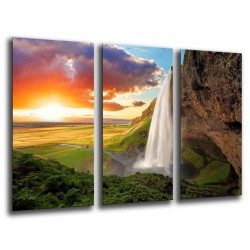 MULTI Wood Printings, Picture Wall Hanging, Landscape Waterfall Atardecer