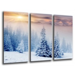 MULTI Wood Printings, Picture Wall Hanging, Forest Snowy Sunset, Nieve