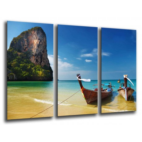 MULTI Wood Printings, Picture Wall Hanging, Boat in the Beach Tropical