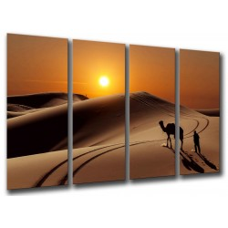 MULTI Wood Printings, Picture Wall Hanging, Sunset in the Desert, Dunas, Camellos