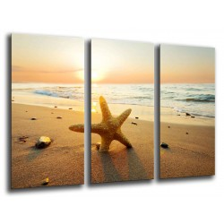MULTI Wood Printings, Picture Wall Hanging, Sunset in the Beach, Star of Mar