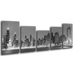 MULTI Wood Printings, Picture Wall Hanging, City Girlgo White and  Black, Skyline of noche