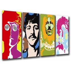 Cuadro Moderno Fotografico base madera, Los Beatles Abstracto, John Lennon, Paul Mccartney