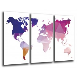 MULTI Wood Printings, Picture Wall Hanging, Map World  Purple and Blanco
