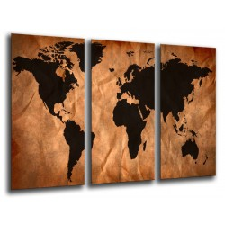 MULTI Wood Printings, Picture Wall Hanging, Map World Marron and Negro