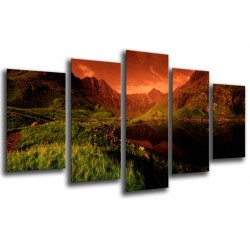 MULTI Wood Printings, Picture Wall Hanging, Landscape Sunset in Lake, Nature