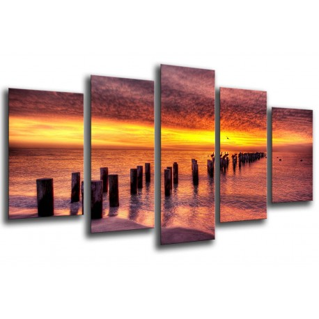MULTI Wood Printings, Picture Wall Hanging, Landscape sunset in the Mar