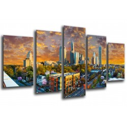 MULTI Wood Printings, Picture Wall Hanging, Landscape City Charlotte, Rascacielos