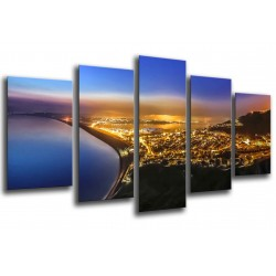 MULTI Wood Printings, Picture Wall Hanging, City Harbour Atardecer