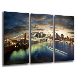 MULTI Wood Printings, Picture Wall Hanging, City New York City, Atardecer