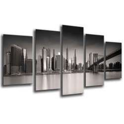 MULTI Wood Printings, Picture Wall Hanging, City New York Atardecer