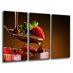 MULTI Wood Printings, Picture Wall Hanging, Dessert Strawberrys With Chocolate