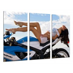 MULTI Wood Printings, Picture Wall Hanging, Motobike Girl Sexy